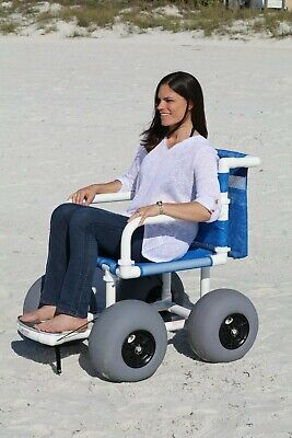 "Beach/All Terrain Wheelchair, 12"" Balloon Tires for Soft Sand"