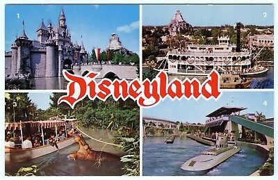 1960s DISNEYLAND RIDES~SUBMARINE,JUNGLE CRUISE,CASTLE&RIVERBOAT~VINTAGE POSTCARD