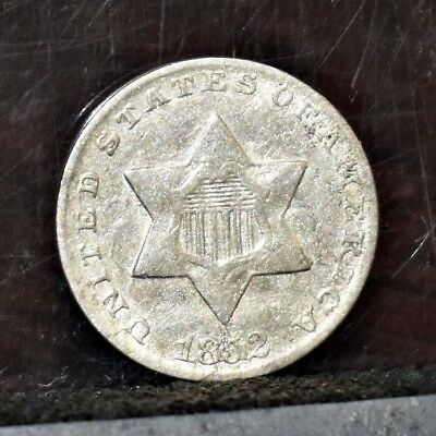 1852 Three Cent Silver 3CS - AU (#16209)