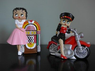 Lot of 2 Betty Boop Precious Kids Plastic Piggy Bank Motorcycle Juke Box Poodle