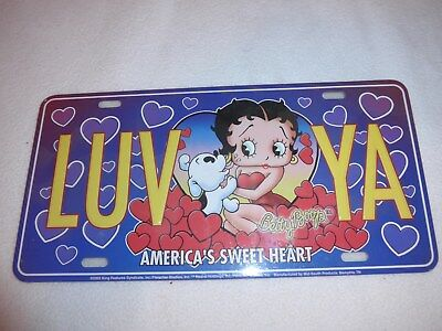 Betty Boop Pudgy Metal License Plate Wall decoration collectibles LUV YA