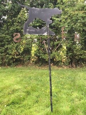 Old Reclaimed Architectural Iron Roof Pointer Dog Wind Direction Weathervane