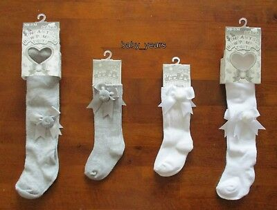 Baby Girls Pom Pom Bow Socks Tights White Grey Christening Occasion Wear New