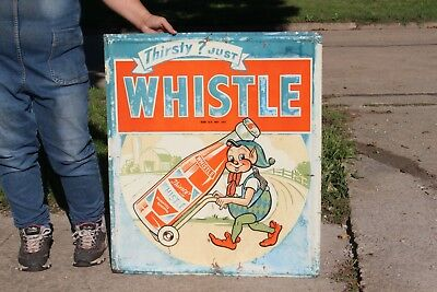 "Rare Vintage 1948 Whistle Orange Soda Pop 30"" Embossed Metal Sign W/Elves"