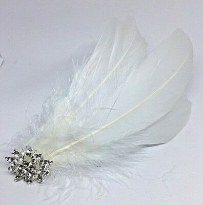 Silver White  Ivory  Feather Fascinator Headpiece Diamante Hair Clip Vintage