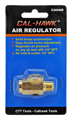 "Cal Hawk 1/4"" NPT Inline Regulator Solid Brass Compressed Air Pressure Valve"
