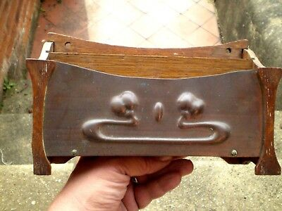 Early 1900s Arts & Crafts / Art Nouveau Wooden & Copper Decorated Letter Rack