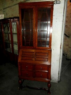 Deco Carved Golden Oak Bureau Bookcase