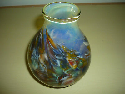 Beautiful Hand Made Vintage Art Glass Vase/ Signed By Artist
