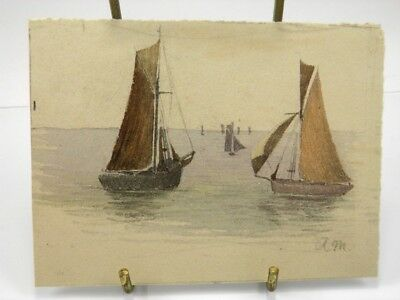Antique watercolour painting seascape with boats late 19th century English