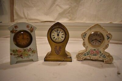 Group Of Three Small Clocks For One Money. One Ansonia 8Day, Two Porcelain Clock