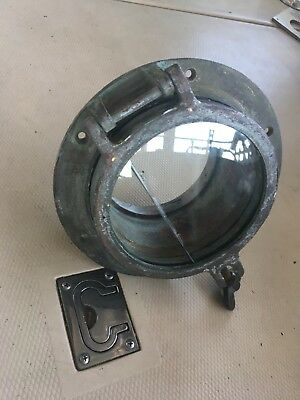 "Vintage Antique Bronze Porthole 7.5"" Glass Cracked Seals Marine Boat 5""hole"