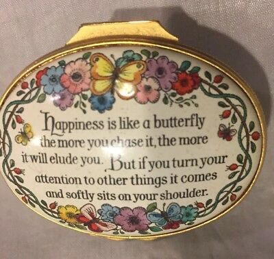 "Vintage Halcyon Days Enamel Oval Box""Happiness is Like a Butterfly"" Lovely"