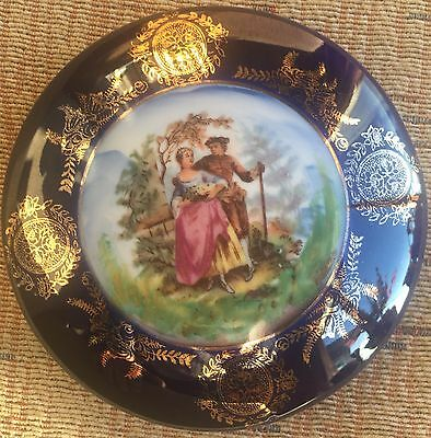 French antique porcelain box hand painted gold gilt