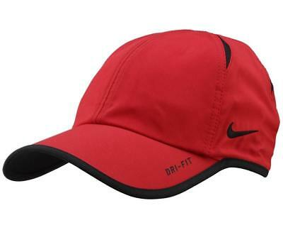 cacd1b15082 RARE Red NIKE Men Women s Tennis Cap DRI-FIT Runner Hat FEATHERLIGHT