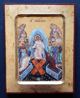 Byzantine Greek Russian Orthodox Lithography Icon Resurrection of Christ 14x18cm