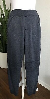 Lucky Brand Heathered Blue Joggers Sweat Pants Stitched Knee Detail Women's Sz M