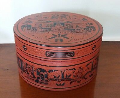 Burmese Lacquer Stacking Box Hand Painted Betel Nut Vintage