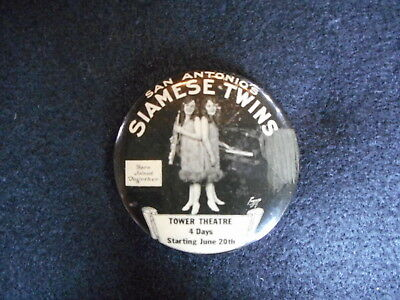 Vintage Siamese Twins Pocket Mirror Tower Theatre San Antonio Joined Together