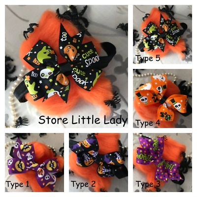 Halloween Baby Girl Elastic Headband Hair Band Bow Outfit Spider Ghost Sceleton