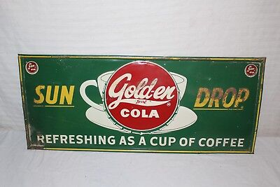 "Vintage 1940's Sun Drop Cola Soda Pop Gas Station 28"" Embossed Metal Sign"