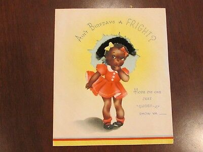 1940s Black AMericana Girl with Afro Ain't Birfdays a Fright?