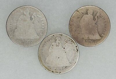 1875 1876 1877 Cc Seated Liberty Dimes 10C Avg Circ Carson City 3 Coins (6436)
