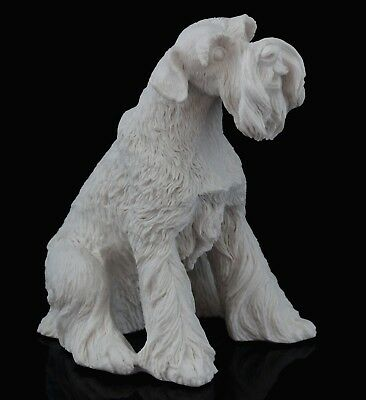Schnauzer White Marble Dog Figurine Stone Sculpture Russian Art Statue 3 1/2""