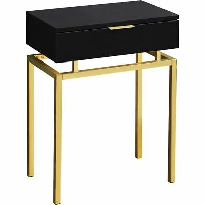 """Monarch Specialties I 3466 Accent Table 24""""H Cappuccino Gold Metal"""