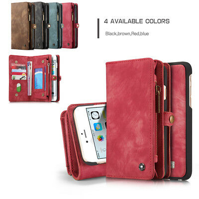 For iPhone X/8/7/6/Plus Case Cover Flip Wallet ID Card Pocket Leather Removable