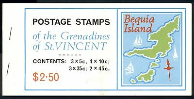 St Vincent Grenadines Scott #85a 87b MNH BOOKLET Bequia Is MAPS 4 Panes $$