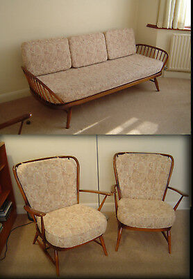 Ercol Studio Couch and two Matching Windsor Easy Chairs
