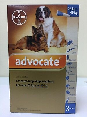 Advocate For XL Dogs Weighing 25-40 Kg 1 Box 3 pipettes x 4.0ml + Tracking