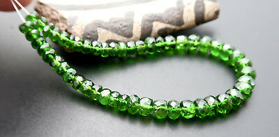 50 AAAAA GREEN RARE GENUINE RUSSIAN CHROME DIOPSIDE FACETED BEADS 15.40cts