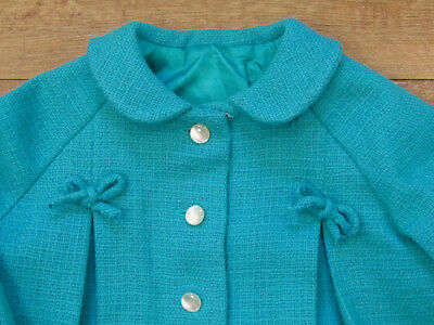 Girls Vintage Handmade Turquoise Wool Fall Winter Coat And Hat