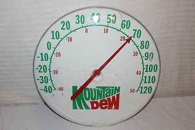 """Large Vintage 1970s Mountain Dew Soda Pop Gas Station 18"""" Metal Thermometer Sign"""