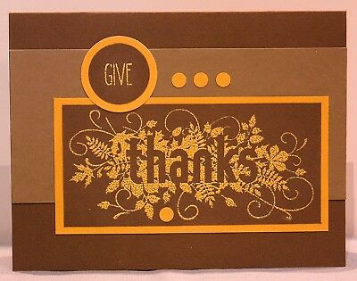 Thanksgiving Card Handmade Inside Blank Stampinup Seasonaly Scattered