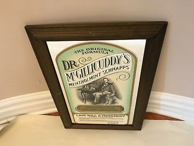 Dr. McGillicuddy's Menthol Mint Schnapps Bar Mirror Sign Last Will and Testament