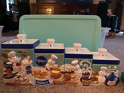 Pillsbury Doughboy CANISTER COLLECTION The Danbury Mint 8 Piece Set