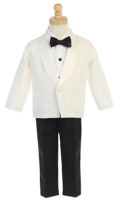 Baby Toddler Boys Kids Youth Ivory Black Tuxedo Dress Suit Wedding Party Outfit