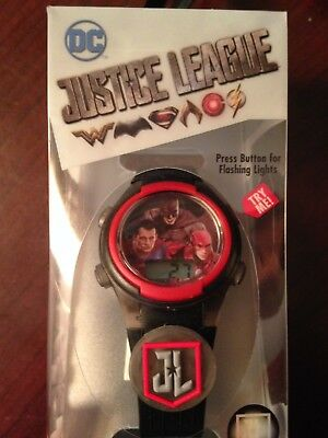 NEW DC Justice League Flashing Charm & Dial LCD watch Superman Batman Flash ++++