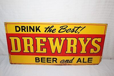 "Vintage 1940's Drewry's Beer & Ale Gas Oil 32"" Embossed Metal Sign"