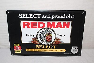 """Vintage Red Man Chewing Tobacco Gas Station 18"""" Embossed Metal Sign W/Indian"""