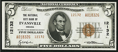 Evansville, IN - $5 1929 Ty. 2 The National City Bank Ch. # 12132 - CH UNC