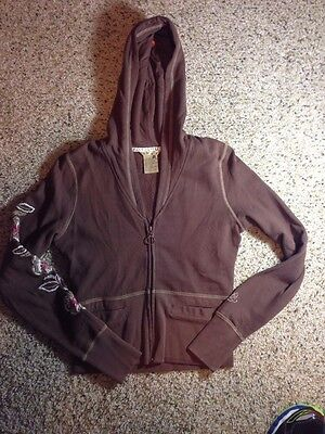 Roxy womens juniors hoodie zip up size XS Chocolate Cocoa