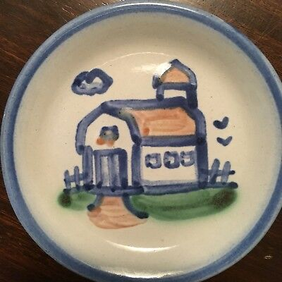 MA Hadley HOUSE Coaster Pin Dish Small Blue Handpainted Pottery Signed Free Ship