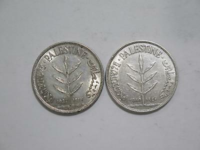 Palestine 1940 & 1927 100 Mils Hebrew Silver Type Old World Coin Collection Lot