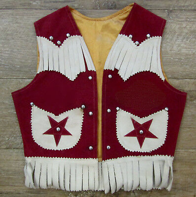 1960's Child/Toddler Red Maroon Hand Made Western Vest