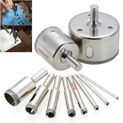 AU 10x Diamond Cutter Hole Saw Drill Bit Tool 3-50mm Set For Tile Ceramic Glass