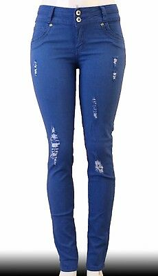 High Waist  Stretch Push-Up Colombian Style Skinny Jeans in  blue QC041